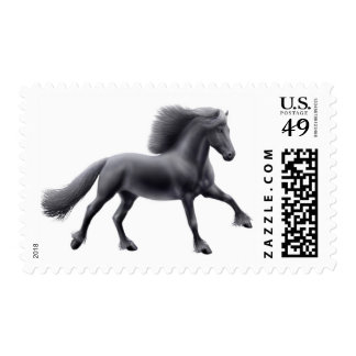 Galloping Friesian Horse Postage