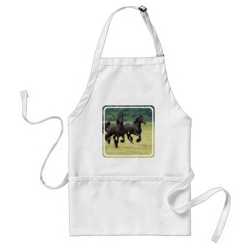 Galloping Friesian Horses  Apron