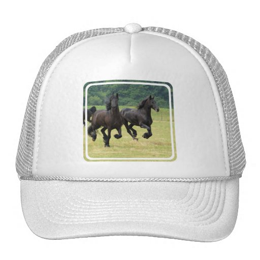 Galloping Friesian Horses  Baseball Hat