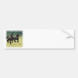 Galloping Friesian Horses  Bumper Sticker Car Bumper Sticker