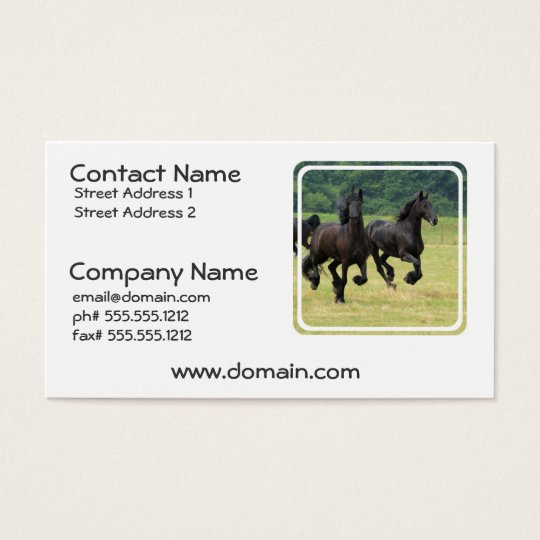 Galloping Friesian Horses Business Cards