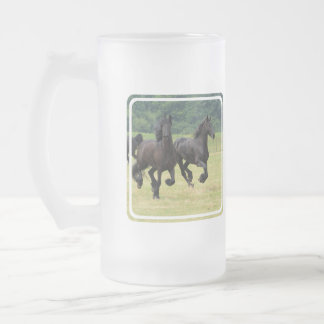 Galloping Friesian Horses  Frosted Mug
