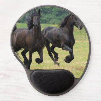 Galloping Friesian Horses Gel Mouse Pad