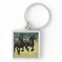 Galloping Friesian Horses Keychain