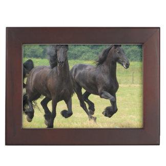 Galloping Friesian Horses Memory Box