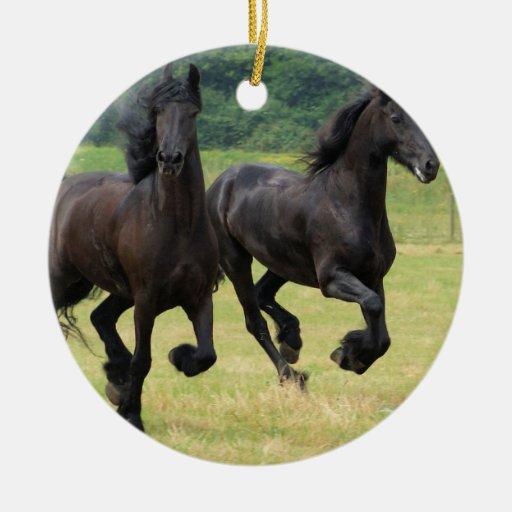 Galloping Friesian Horses  Ornament
