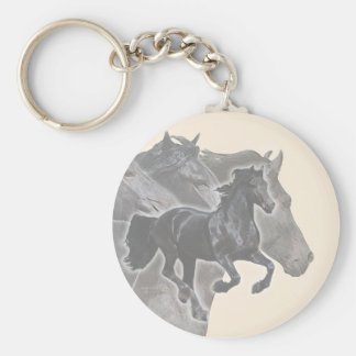 Galloping Friesians Keychain