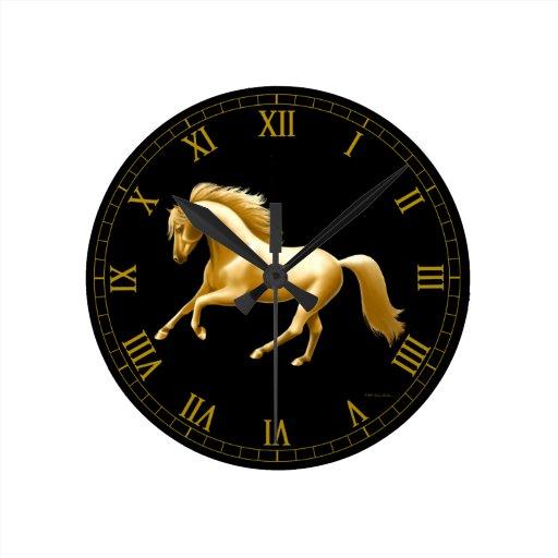 Galloping Golden Horse Wall Clock