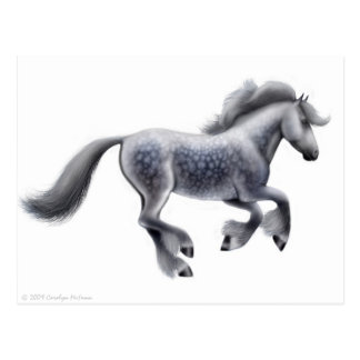 Galloping Gray Draft Horse Postcard