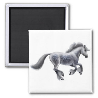 Galloping Gray Horse Magnet