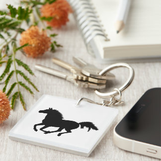 Galloping horse beautiful black silhouette, gift keychain