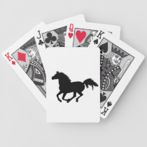 Galloping horse black silhouette playing cards