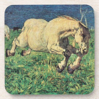 Galloping Horse by Giovanni Segantini, Vintage Art Drink Coaster