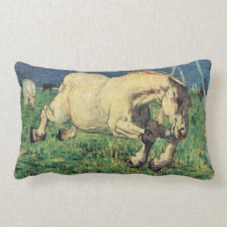 Galloping Horse by Giovanni Segantini, Vintage Art Lumbar Pillow