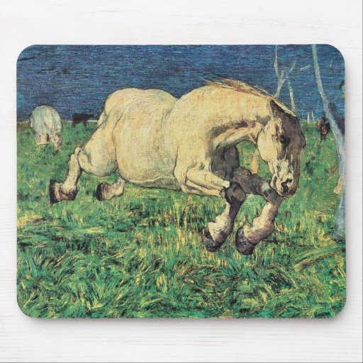 Galloping Horse by Giovanni Segantini, Vintage Art Mousepads