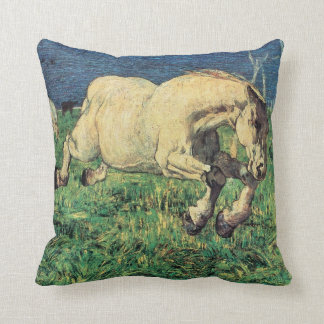 Galloping Horse by Giovanni Segantini, Vintage Art Throw Pillow