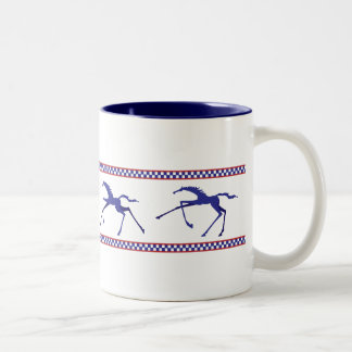 galloping horse mug -navy and red