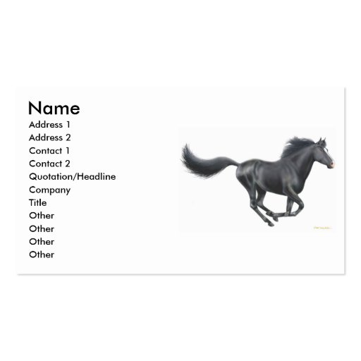 Galloping Horse Profile Card Double-Sided Standard Business Cards (Pack Of 100)