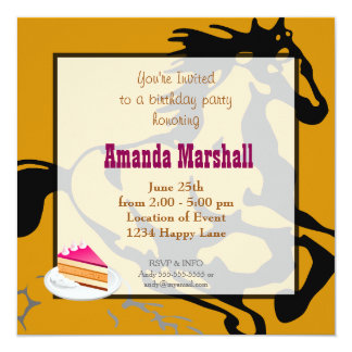 Galloping Horse Wild and Free Birthday Party Invitations