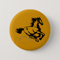 Galloping Horse Wild and Free Pinback Button