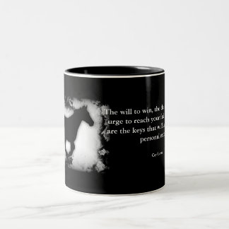 Galloping Horse with Confucius quote Two-Tone Coffee Mug
