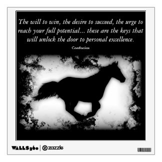 Galloping Horse with Confucius quote Wall Decal