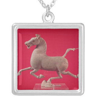 Galloping horse with one Hoof Resting on a Silver Plated Necklace