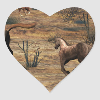 Galloping Horses Heart Sticker