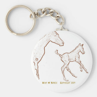 Galloping Horses: Mare and Foal Basic Round Button Keychain
