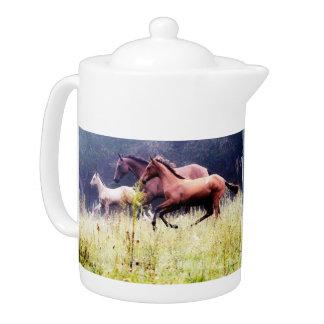 Galloping Horses Photography Teapot