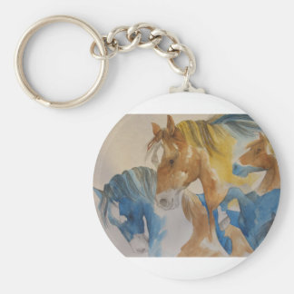 Galloping Mustangs in Pastels Keychain