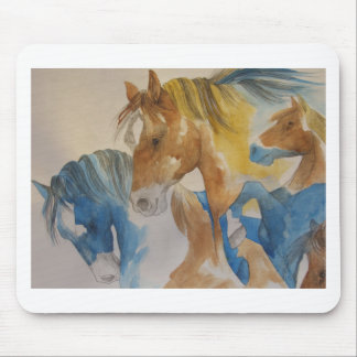 Galloping Mustangs in Pastels Mouse Pad