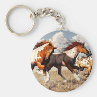 Galloping Mustangs Basic Round Button Keychain
