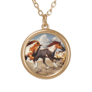Galloping Mustangs Round Pendant Necklace