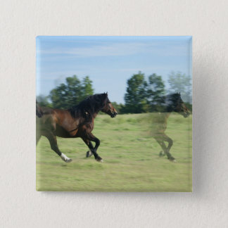 Galloping Mustangs Square Pin