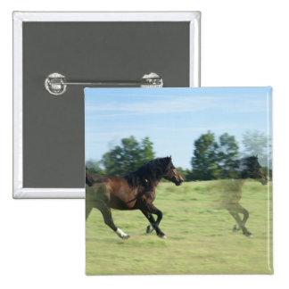 Galloping Mustangs Square Pin