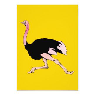"Galloping Ostrich 5"" X 7"" Invitation Card"