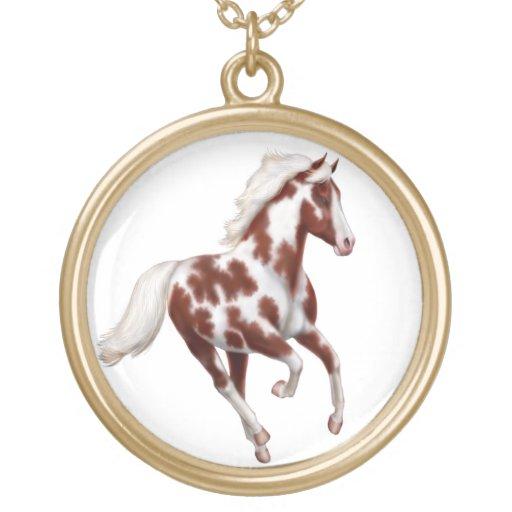 Galloping Overo Paint Horse Pendant