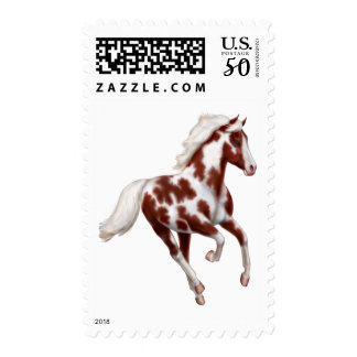 Galloping Overo Paint Horse Postage