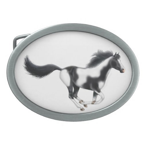 Galloping Paint Horse Belt Buckle