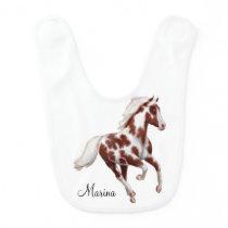 Galloping Paint Horse Customizable Baby Bib
