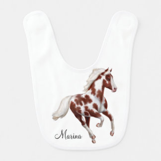 Galloping Paint Horse Customizable Baby Bib