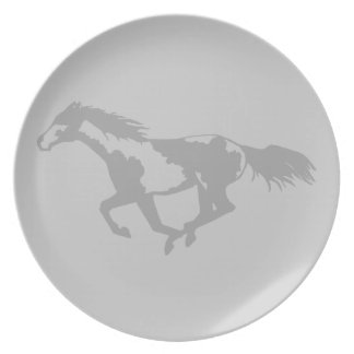 Galloping Paint Horse Dinner Plate
