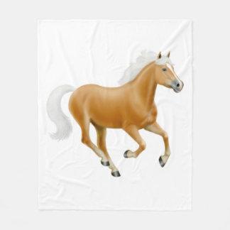 Galloping Palomino Haflinger Horse Fleece Blanket