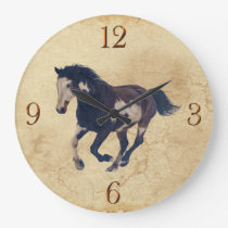 Galloping Pinto American Paint Stallion Horse Large Clock