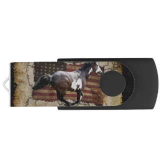 Galloping Pinto Paint and USA  Flag Swivel USB 2.0 Flash Drive