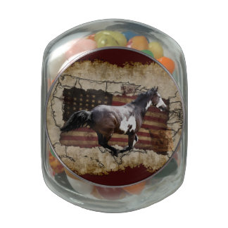 Galloping Pinto Paint USA Pony Express Horse Glass Jar