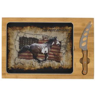 Galloping Pinto Paint USA Pony Express Horse Rectangular Cheeseboard