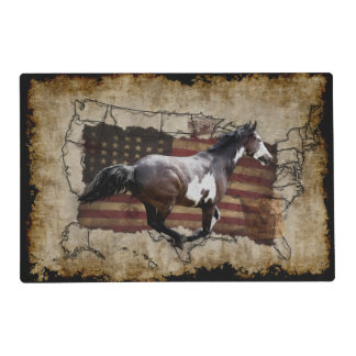 Galloping Pinto Paint USA Pony Express Horse Placemat