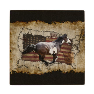 Galloping Pinto Paint USA Pony Express Horse Wooden Coaster